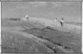 Landschaft mit Bauern im Kornfeld