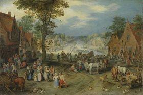 Belebter Dorfplatz
