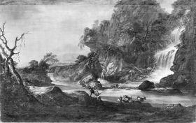 Landschaft mit Wasserfall