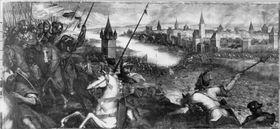 Die Herzöge Heinrich XIII. von Niederbayern und Ludwig II. (der Strenge) von Oberbayern besiegen 1257 König Ottokar von Böhmen bei Mühldorf