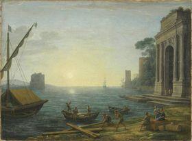 Ein Seehafen bei aufgehender Sonne
