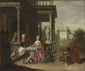 Der Frühling (Johanna de Lasence beim Kaffee im Garten)