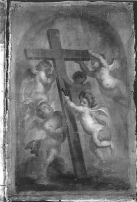 Die Verehrung des Hl. Kreuzes durch fünf Engel