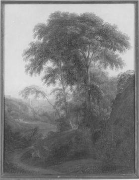 Baumgruppe in bergiger Landschaft mit Kastell