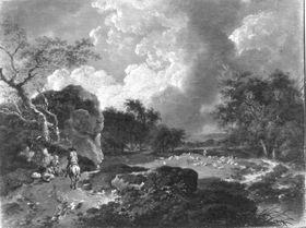Landschaft mit Reiter und Schafherde