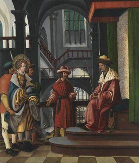 Florianslegende: Die Vorführung des hl. Florian vor dem Statthalter