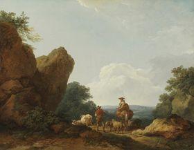 Landschaft mit Hirten auf einer Passhöhe