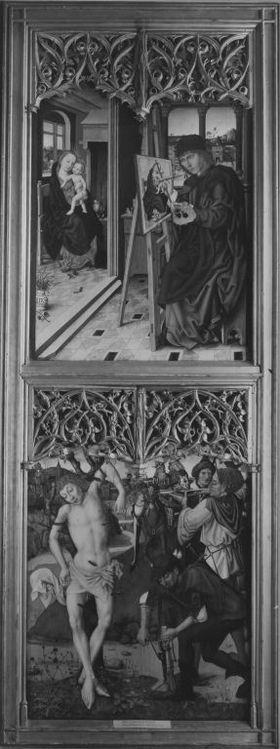 Veitsaltar: Der hl. Lucas malt die Madonna mit Kind, Marter des hl. Sebastian Rückseite: Hll. Katharina und Barbara