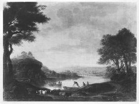 Landschaft bei Tivoli mit Fischern