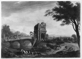 Landschaft mit steinerner Brücke