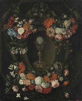 Blumenstück mit Abendmahlskelch und Hostie