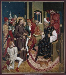 Rottenbucher Altar: Christus vor Pilatus (Rückseite: ehemals Relief)