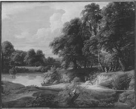 Landschaft mit Bäumen und Gewässer