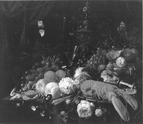 Blumen und Früchtestillleben mit Hummer