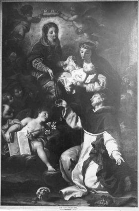 Der hl. Dominikus empfängt den Rosenkranz