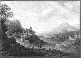Flusslandschaft mit befestigter Stadt