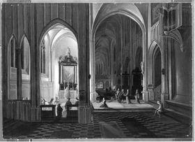 Abendgottesdienst in einer gotischen Kirche