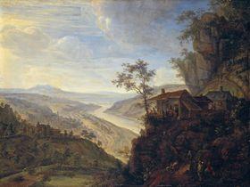 Schenke auf einem Berg mit der Ansicht von Rhens am Rhein