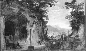 Landschaft mit Felskapelle