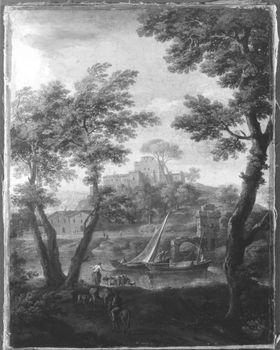 Landschaft mit Fluss und Kastell