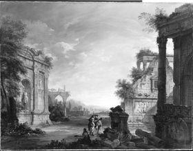 Ruinen vor einer Flusslandschaft