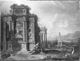 Ruinenlandschaft mit Grabmal und Brunnen