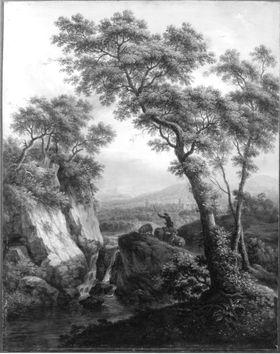 Flusslandschaft mit Wasserfall und Schafherde