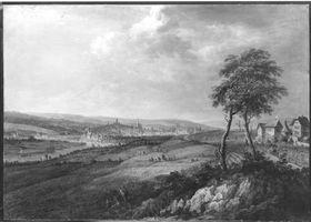 Blick auf die Mainmündung und die Stadt Mainz von Hochheim aus