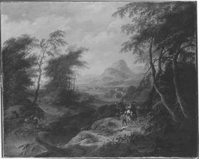 Südliche Berglandschaft mit Auszug zur Reiherbeize