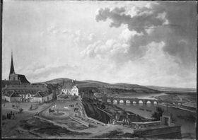 Blick vom Aschaffenburger Schloss auf Marstall und Mainbrücke (Aschaffenburger Zyklus)