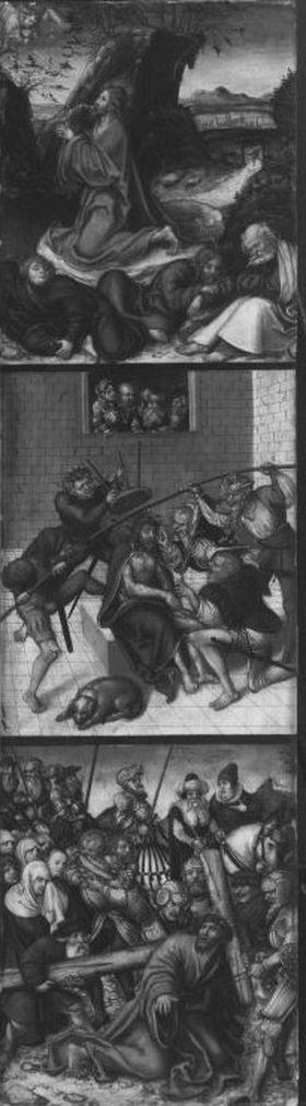 Kreuzigungstriptychon: Christus am Ölberg, Dornenkrönung, Kreuztragung