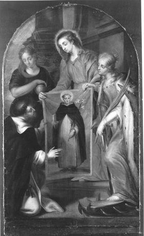 Maria, Magdalena und Katharina zeigen das Bild des hl. Dominikus mit Buch und Lilie dem hl. Thomas von Aquin