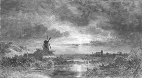 Windmühlen im Mondschein