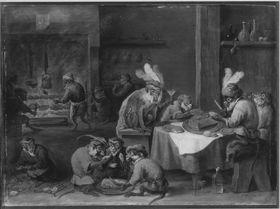 Mahlzeit kostümierter Affen