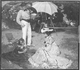 Die Familie des Künstlers im Garten