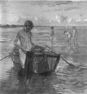 Badende Knaben am See