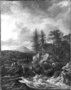 Nordische Landschaft mit Wasserfall