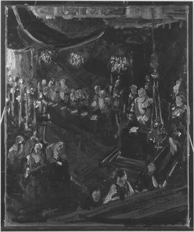 Prinzregent Luitpold im Betstuhl unter Baldachin in Kerzenbeleuchtung