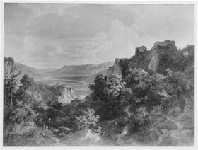 Blick auf das Etschtal mit Schloss Tirol