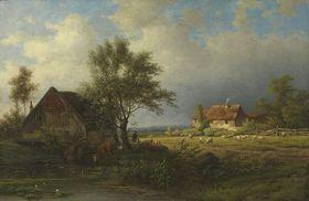 Bauernhaus mit Kühen und Schafen