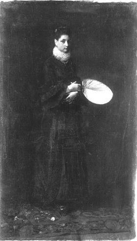 Bildnis einer stehenden Dame mit Fächer