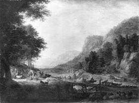 Flusslandschaft (Jakob teilt seine Herde am Jabbok)