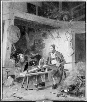 Bauer auf der Schnitzbank