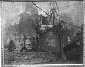 Rotes Schiff im Hafen