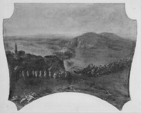 Die zerstörte Donaubrücke bei Pest 1684