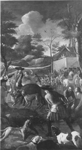 Kurfürst Max Emanuel auf Wildschweinjagd