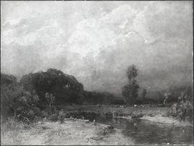 Landschaft mit Fluss und Viehherde