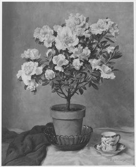 Blumenstillleben mit japanischer Porzellantasse