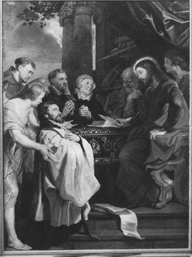 Rechenschaft der Vertreter der weltlichen und geistigen Stände vor Christus, Petrus und Johannes (Epitaph des Franciscus Movins)