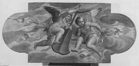 Zwei Engel mit einem Steuer
